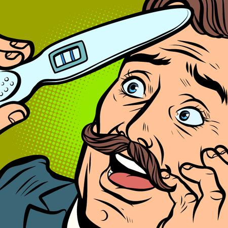 pregnancy test. joyful moustached man husband father. Comic cartoon pop art retro vector illustration hand drawing