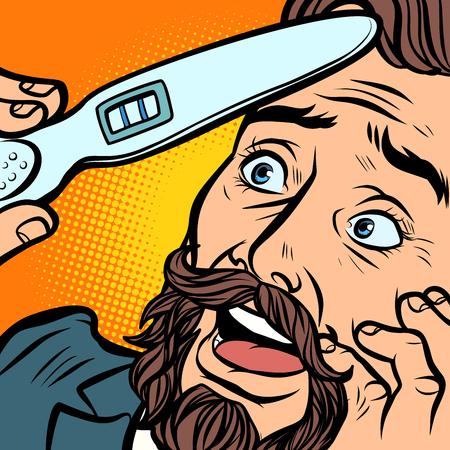 pregnancy test. joyful bearded hipster man husband father. Comic cartoon pop art retro vector illustration hand drawing Illustration