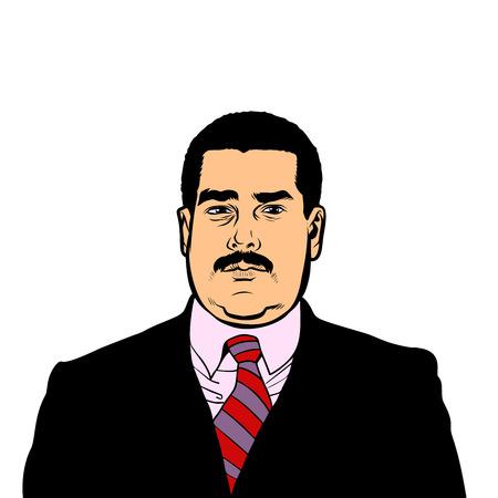 Caracas, Venezuela - 9 February 2019: Portrait of Nicolas Maduro, 46th President of Venezuela. Pop art retro illustration comic style Ilustrace