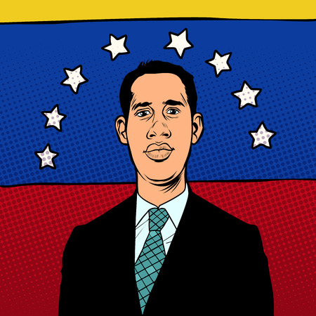 Caracas, Venezuela - 9 February 2019: Portrait of Juan Guido, President of Venezuela, Interim President of Venezuela. National flag. Pop art retro illustration Illustration