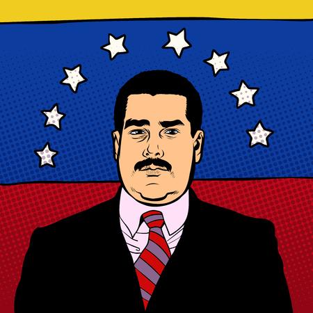 Caracas, Venezuela - 9 February 2019: Portrait of Nicolas Maduro, 46th President of Venezuela, national flag. Pop art retro illustration comic style