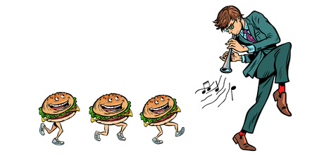 burgers go for a man with a pipe horn. Comic cartoon pop art retro vector illustration drawing