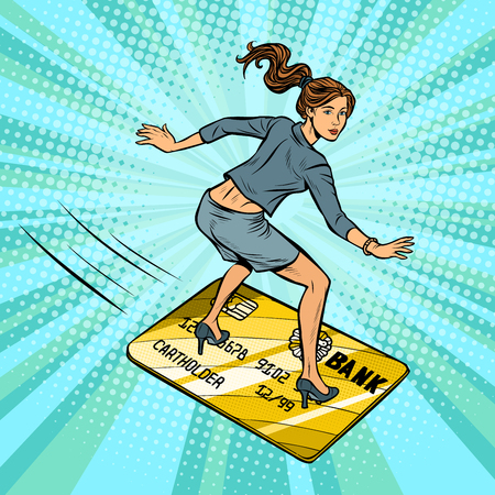 woman businesswoman and Bank card. Going snowboarding or water Board. Bank card flies, credit and debit. Comic cartoon pop art retro vector illustration drawing
