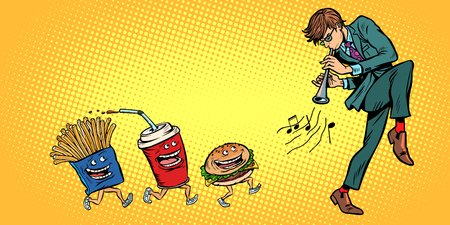 fast food goes for man playing music. Comic cartoon pop art retro vector illustration drawing Banque d'images - 125376534