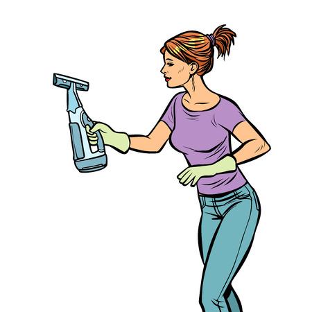washing cleaning sprayer, woman