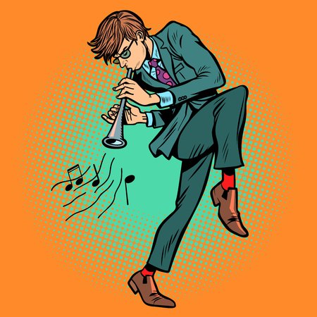 man playing folk wind instrument. Comic cartoon pop art retro vector illustration drawing Banque d'images - 125376536