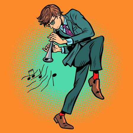 man playing folk wind instrument. Comic cartoon pop art retro vector illustration drawing Illustration