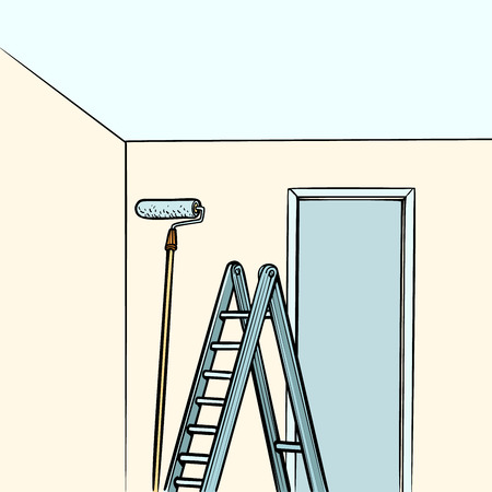 ladder repair paint roller. Comic cartoon pop art retro vector illustration drawing Ilustrace