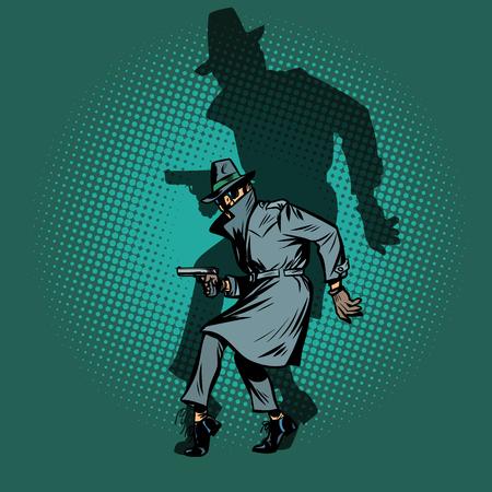 ombre Noir. homme espion détective avec pose d'arme à feu Vecteurs