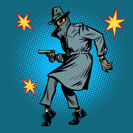 detective spy man with gun pose