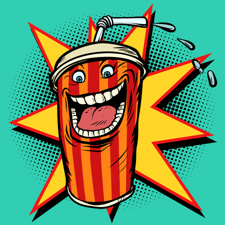 Cola drink character. Comic cartoon pop art retro vector illustration hand drawing