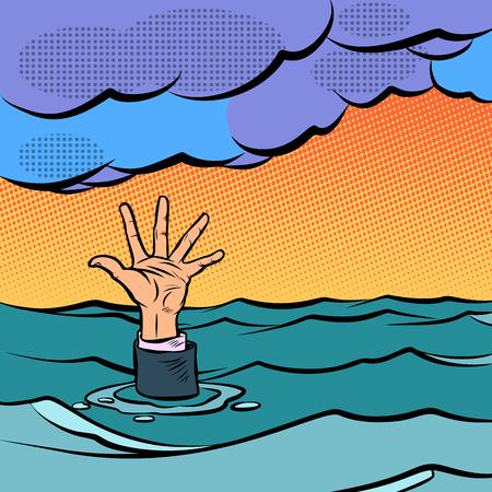 hand sinking in the sea. Comic cartoon pop art retro vector illustration hand drawing Фото со стока - 125239732