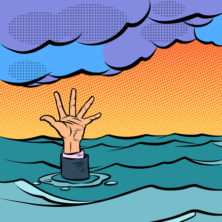 hand sinking in the sea. Comic cartoon pop art retro vector illustration hand drawing Illustration