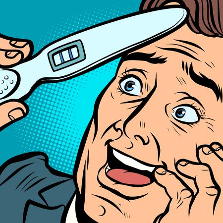 pregnancy test. joyful man husband father. Comic cartoon pop art retro vector illustration hand drawing Illustration