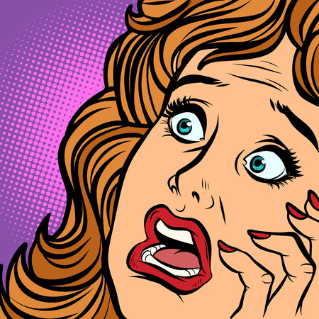 woman fear face. Comic cartoon pop art retro vector illustration hand drawing