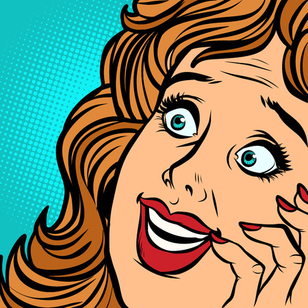 woman happiness face. Comic cartoon pop art retro vector illustration hand drawing