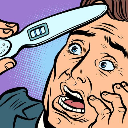 Schwangerschaftstest. erschrockener Mann Mann Vater. Comic-Cartoon-Pop-Art-Retro-Vektor-Illustration Handzeichnung Vektorgrafik