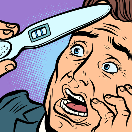 pregnancy test. scared man husband father. Comic cartoon pop art retro vector illustration hand drawing