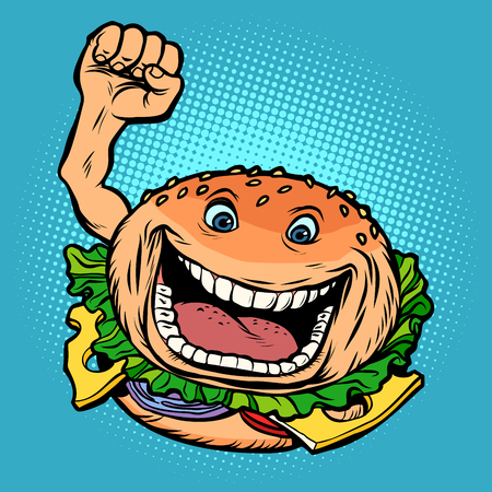 joyful character fast food Burger. Comic cartoon pop art retro vector illustration hand drawing