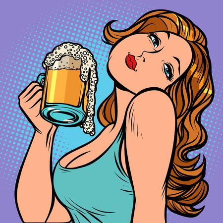 Woman with a mug of beer in profile. Oktoberfest Pub or bar. Comic cartoon pop art retro vector illustration drawing Illustration