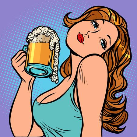 Woman with a mug of beer in profile. Oktoberfest Pub or bar. Comic cartoon pop art retro vector illustration drawing Ilustracja
