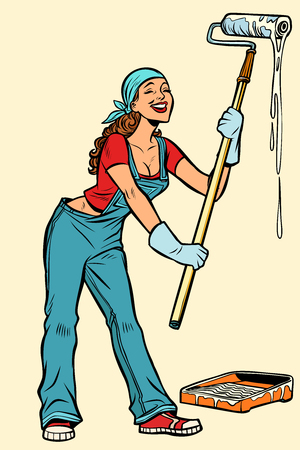 woman painter paints the walls. Professional worker. Comic cartoon pop art retro vector illustration drawing