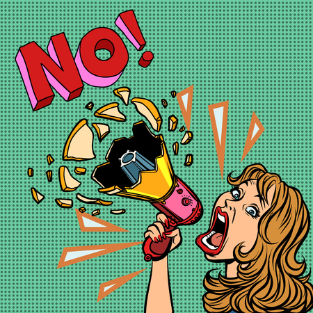 no. woman with megaphone protest policy. Comic cartoon pop art retro vector illustration drawing Ilustracja