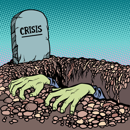 The corpse is chosen from a grave crisis. Business and Economics Psychology Zombie. Comic cartoon pop art retro vector illustration drawing