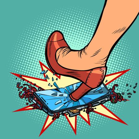 woman heel smashes phone screen. Comic cartoon pop art retro vector illustration drawing