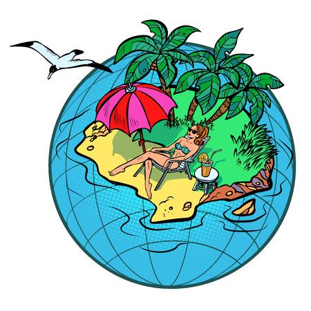 mujer turista descansando en un resort tropical