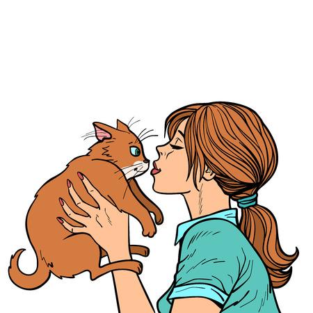 mujer besa a un gato Ilustración de vector