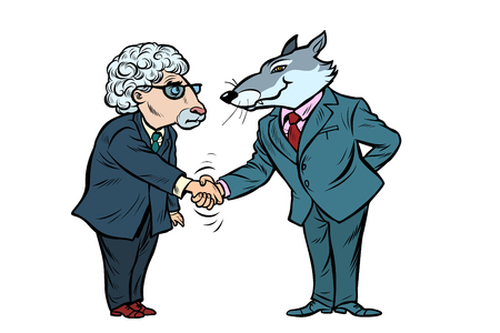 wolf and sheep business negotiations, friendship isolate on white background 向量圖像