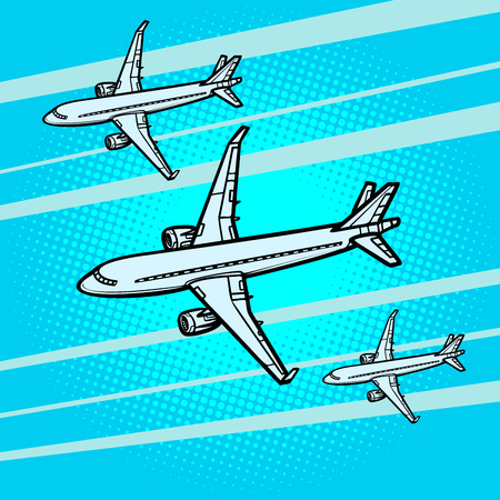 several passenger Airliners aircraft air transport