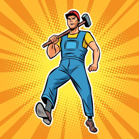 travailler avec un employé spécialiste du marteau