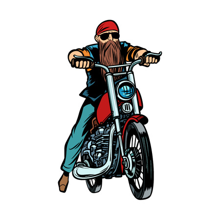 Biker bearded man on a motorcycle isolate on white background