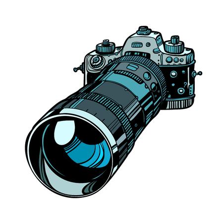 camera with telephoto lens isolate on white background Ilustração