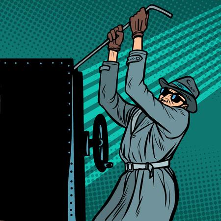 l'espion fait irruption dans le coffre-fort Vecteurs