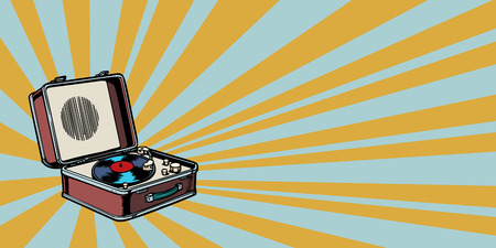 retro vinyl record player pop art background Reklamní fotografie - 120765532