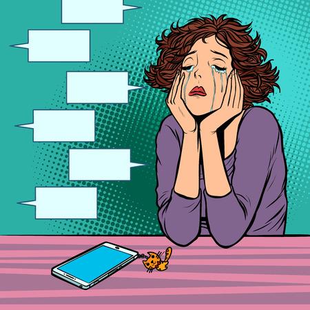 null Nachrichten im Messenger. einsame unglückliche Frau
