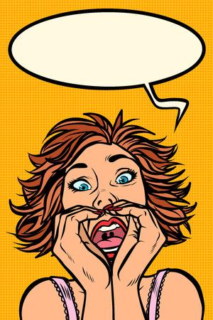 Funny woman screams, strange facial expressions Banco de Imagens - 120765536