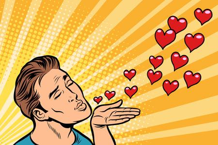 mężczyzna powietrze pocałunek serca Ilustracje wektorowe