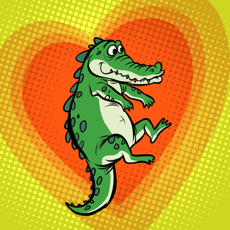 crocodile character, cute heart love