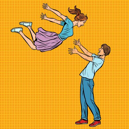 pareja amorosa abrazos reunión, niña vuela en manos de hombres jóvenes Ilustración de vector