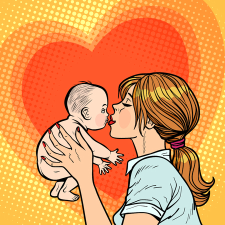 mamá besa bebé, mujer madre