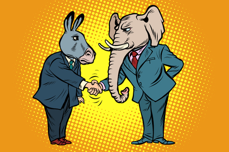 donkey shakes elephant hand. Democrats Republicans Illustration