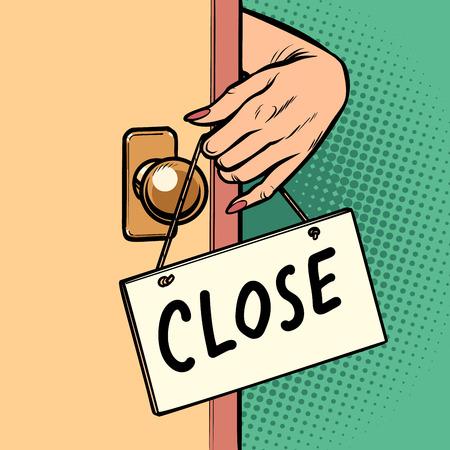 enge Frauenhand hängt ein Schild an die Tür Vektorgrafik