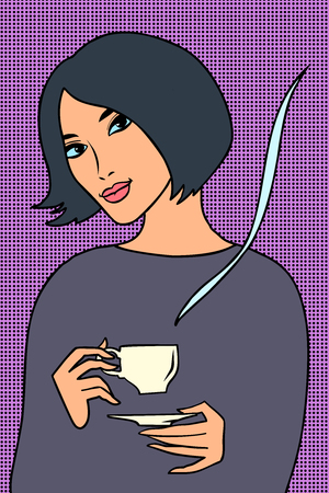Asian woman with a Cup of coffee Ilustracja