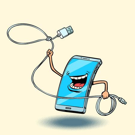 smartphone and usb cord. lasso Ilustracja