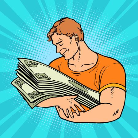 l'uomo ama il denaro, la cura e la conservazione delle finanze Vettoriali
