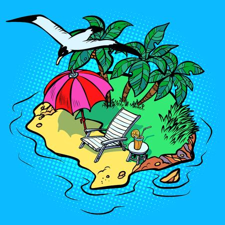 tropical island tourist resort beach chaise longue, bird Seagull